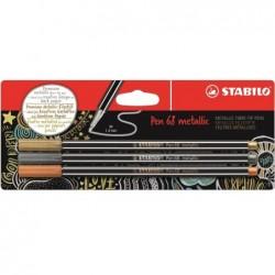 STABILO Blister x 3 feutres métallisés STABILO Pen 68 metallic - or, argent, cuivre