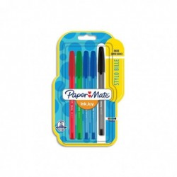 PAPER:MATE Blister de 5 Inkjoy.Stylos à bille capuchon. Pointe fine. 2 bleus, 1 noir, 1 vert, 1 rouge.