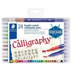 STAEDTLER Étui de 24 Feutres double pointe de calligraphie