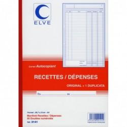 ELVE Manifold autocopiant recette/dépense Format 21x29,7cm 50 feuillets dupli
