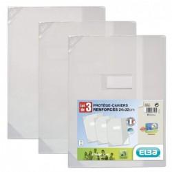 ELBA Lot de 3 Protège-Cahiers coins renforcés 24 x 32 PVC Incolore