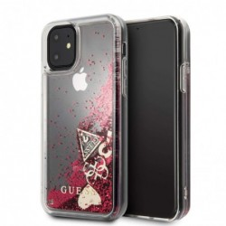 GUESS Coque Guess Paillettes Hearts Fuchsia pour Iphone 11 (6,1) Raspberry
