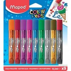 MAPED blister de 9 tubes de colle pailletée COLOR'PEPS, 9 x 10,5 ml