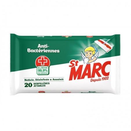 ST MARC Serpillères jetables Imprégnées Anti-Bactériennes - 20 Serpillères