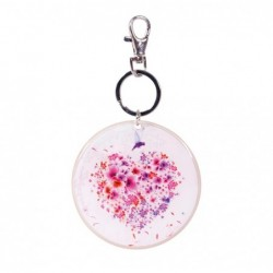 CHACHA LOVE Porte-clés rond, Ø 8,5 cm avec pochette organza
