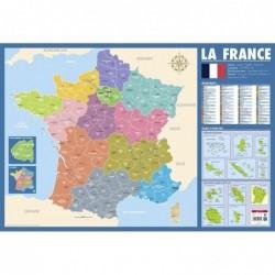 BOUCHUT Poster pédagogique France administrative pélliculé souple 52 x 76 cm effaçable