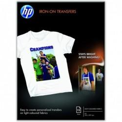 HP Papier Transfert HP Haute Qualité pour T-shirts et Textiles Jet d'Encre - 12 Feuilles A4