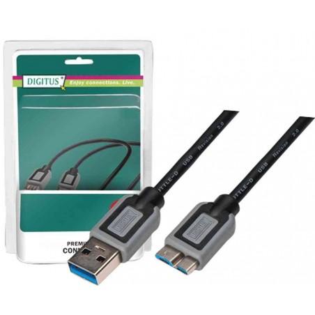 DIGITUS Câble USB 3.0 USB-A mâle vers Micro USB-B mâle 3,0m Noir Gris