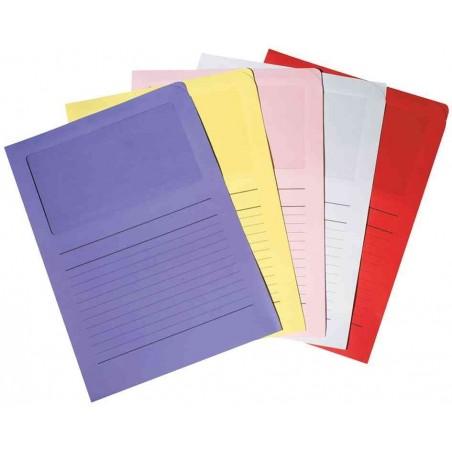 RAINEX Boîte de 100 pochettes coins en carte 120g, avec fenêtre, 22x31cm, bleu pastel