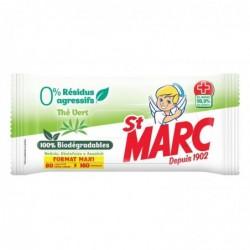 ST MARC Lingettes Biodégradables Nettoyantes et Désinfectantes 0% résidus agressifs Thé Vert x80