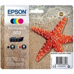 EPSON Pack 4 Cartouches Jet d'Encre N° 603 Cyan Magenta Jaune Noir Bl Sec