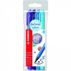 STABILO Pochette 4 stylos-feutres pointMax Edition Nature - nuances OCEAN