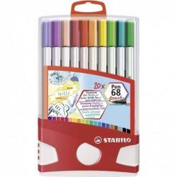 STABILO Feutre de dessin Pen 68 brush, ColorParade de 20