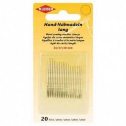 KLEIBER Set de 20 aiguilles à coudre à la main, 34, 37 et 40 mm