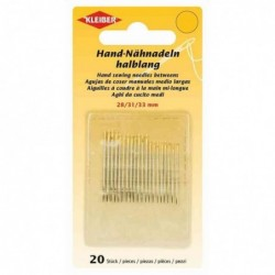 KLEIBER Set de 20 aiguilles à coudre main, 28, 31 et 33 mm
