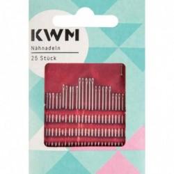 """KWM Set de 25 aiguilles à coudre """"Travaux Manuels"""" de différentes tailles, argent"""