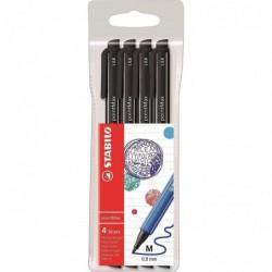 STABILO Pochette de 4 stylos feutres pointMax pointe moyenne 0,8 mm noir