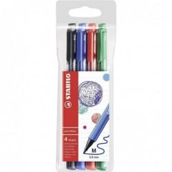 STABILO Pochette de 4 stylos feutres pointMax pointe moyenne 0,8 mm noir + bleu + rouge + vert