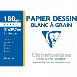 CLAIREFONTAINE Pochette 12 Feuilles Dessin à grain 21x29,7 180g Blanc