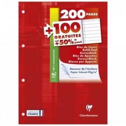 CLAIREFONTAINE Bloc de cours 21x29,7cm 200+100p gratuites 90g L+M Perfo.4T