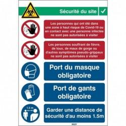 BRADY Signe de sécurité adhésif COVID-19 Réception2 Rectangle 371 x 262 mm