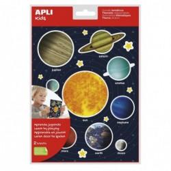 APLI Pochette de gommettes thématiques système solaire