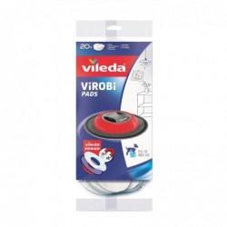 VILEDA Boîte 20 lingettes Diam 29 cm pour Robot Virobi et slim blanches