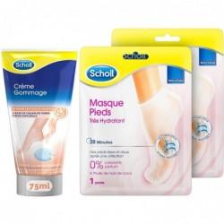 SCHOLL Crème pieds  Gommage 75ml et Lot de 2 Masques pieds très hydratant