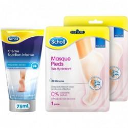 SCHOLL Crème pieds Nutrition Intense 75ml  et Lot de 2 Masques pieds très hydratant