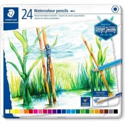 STAEDTLER Etui métal de 24 Crayon de couleur Design Journey aquarellable