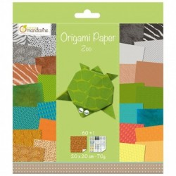 AVENUE MANDARINE Pqt de 60F papier 70g Origami 20x20 cm Zoo + stickers inclus