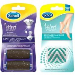 SCHOLL Rouleaux Râpe Electrique Pieds Velvet Smooth - Ultra Exfoliant et Gommant