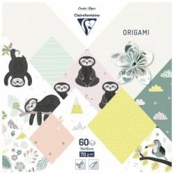 CLAIREFONTAINE pochette origami 60 feuilles 15x15 cm 70g motifs assortis Paresseux