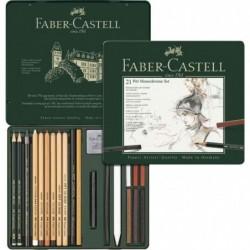 FABER-CASTELL Set de crayons Pitt Monochrome, boîte métal de 21 pièces