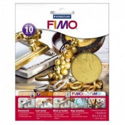 FIMO Paquet de 10 feuilles Métal or