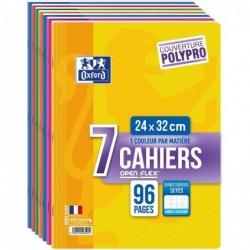 OXFORD Lot de 7 Cahiers OpenFlex 24 x 32cm 96 pages Grands Carreaux Couleurs Assorties