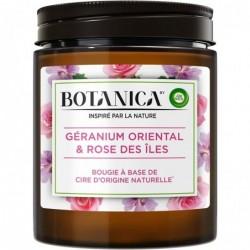 AIR WICK Bougie Botanica Parfumée Cire d'Origine Naturelle Géranium & Rose 205g