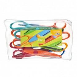 JPC CREATIONS Pochette plastique zippée de 6 ciseaux cranteurs 16 cm assortis