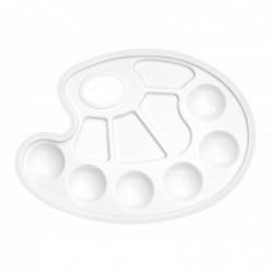 WONDAY Palette de peintre ovale en plastique blanc