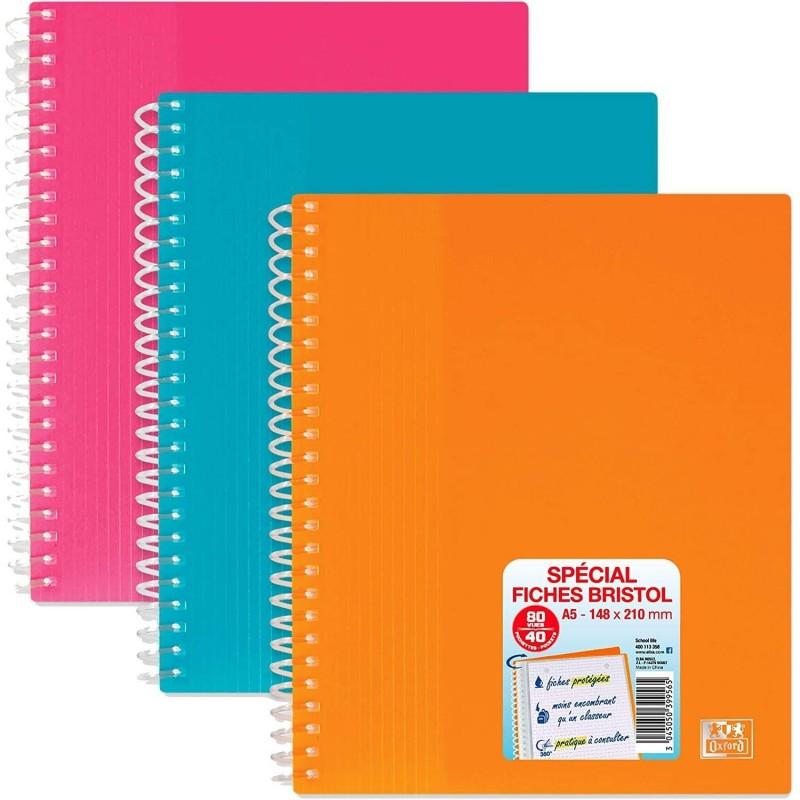 OXFORD Protège-Documents Spirale Spécial format A5 PP 40 Pochettes Coloris Aléatoire