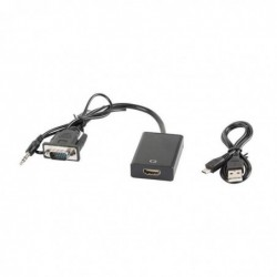 LANBERG Adaptateur D-Sub (VGA) Mini Jack M - HDMI F 0,20 m noir