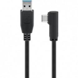 GOOBAY Câble USB 3.0 vers USB type C coudé 90° 50 cm noir