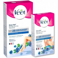 VEET Pack Bandes De Cire Froide Peaux Sensibles Jambes (40) + Aiselles (30)