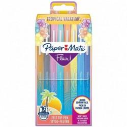 PAPER:MATE Pochette de 16 stylos-feutres Flair Tropical pointe moyenne 16 coloris assortis