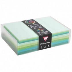 POLLEN Coffret 40 enveloppes 114x162 + 40 cartes 110x155 Vert (5 couleurs)