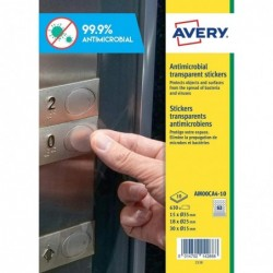 AVERY Etui de 630 Stickers rond antimicrobien transparent taille assorti