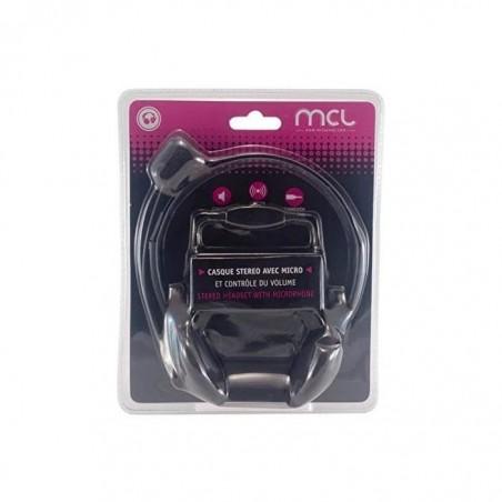 MCL SAMAR Casque stéréo avec micro + Contrôle volume intégré Noir