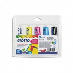 GIOTTO Etui de 5 tubes de gouache 21 ml couleurs primaires